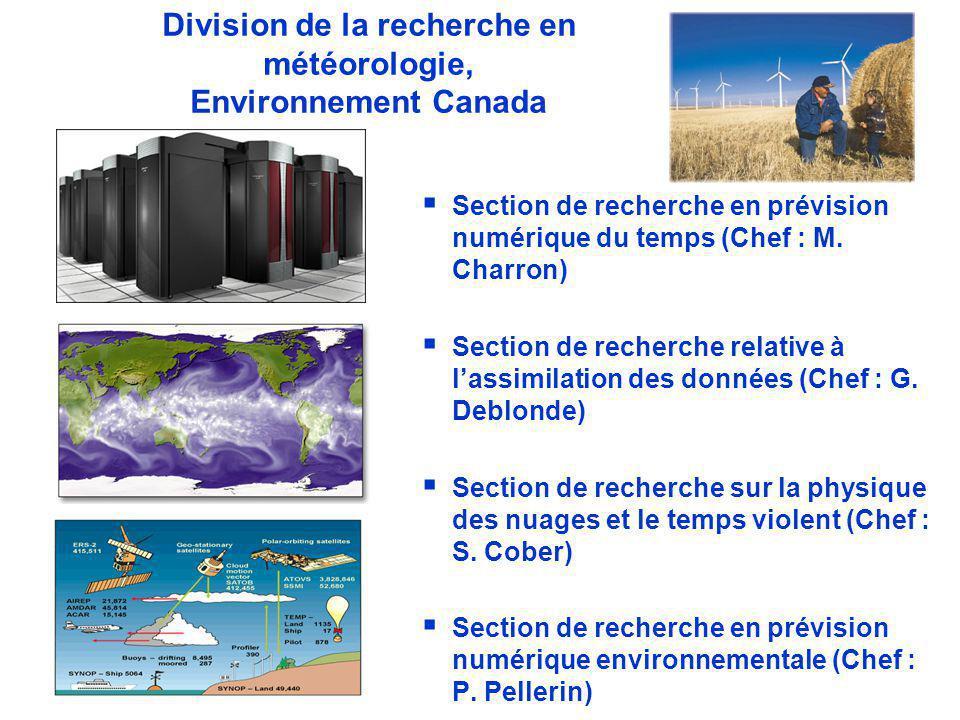 WWRP Division de la recherche en météorologie, Environnement Canada Section de recherche en prévision numérique du temps (Chef : M.