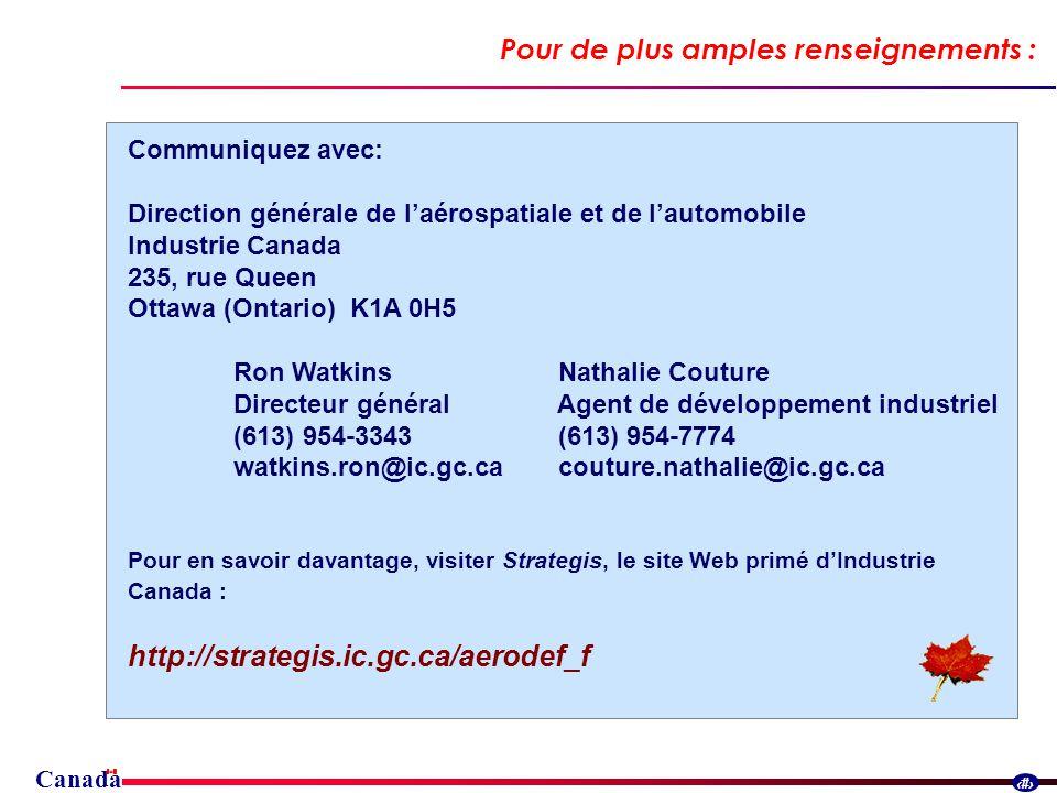 Canada 30 Pour de plus amples renseignements : Communiquez avec: Direction générale de laérospatiale et de lautomobile Industrie Canada 235, rue Queen Ottawa (Ontario) K1A 0H5 Ron Watkins Nathalie Couture Directeur général Agent de développement industriel (613) 954-3343 (613) 954-7774 watkins.ron@ic.gc.ca couture.nathalie@ic.gc.ca Pour en savoir davantage, visiter Strategis, le site Web primé dIndustrie Canada : http://strategis.ic.gc.ca/aerodef_f