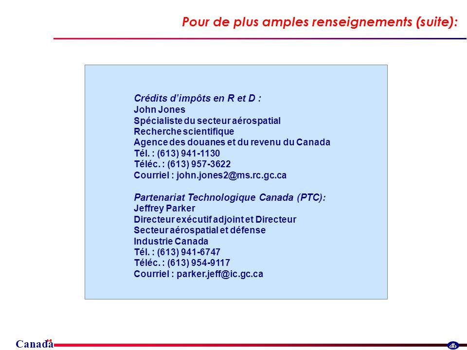 Canada 31 Pour de plus amples renseignements (suite): Crédits dimpôts en R et D : John Jones Spécialiste du secteur aérospatial Recherche scientifique Agence des douanes et du revenu du Canada Tél.