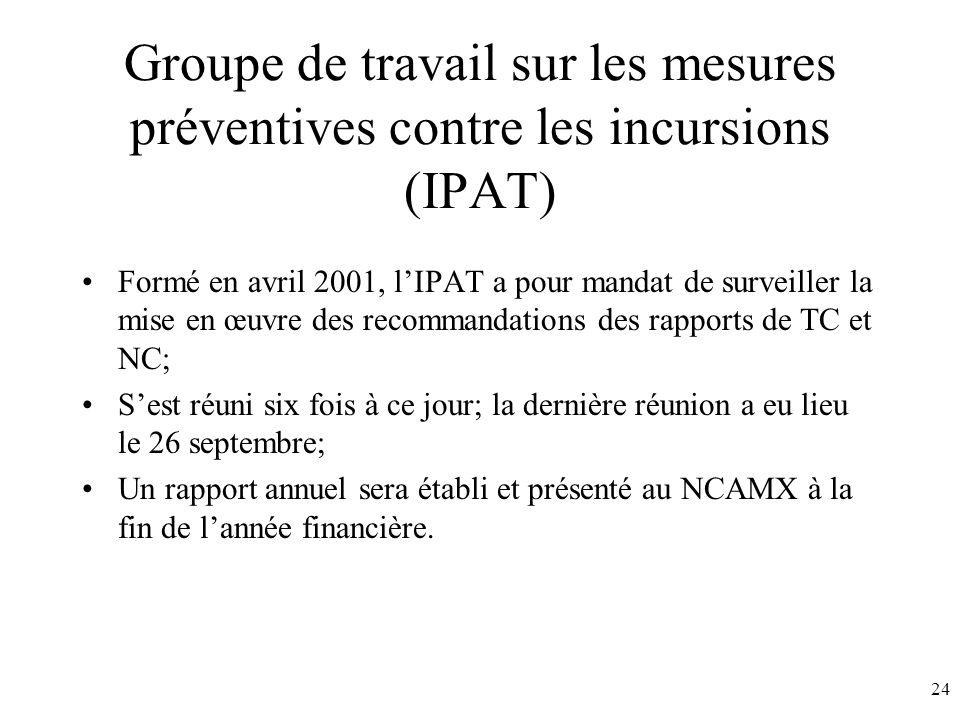 24 Groupe de travail sur les mesures préventives contre les incursions (IPAT) Formé en avril 2001, lIPAT a pour mandat de surveiller la mise en œuvre des recommandations des rapports de TC et NC; Sest réuni six fois à ce jour; la dernière réunion a eu lieu le 26 septembre; Un rapport annuel sera établi et présenté au NCAMX à la fin de lannée financière.