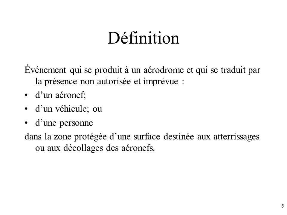 5 Définition Événement qui se produit à un aérodrome et qui se traduit par la présence non autorisée et imprévue : dun aéronef; dun véhicule; ou dune personne dans la zone protégée dune surface destinée aux atterrissages ou aux décollages des aéronefs.