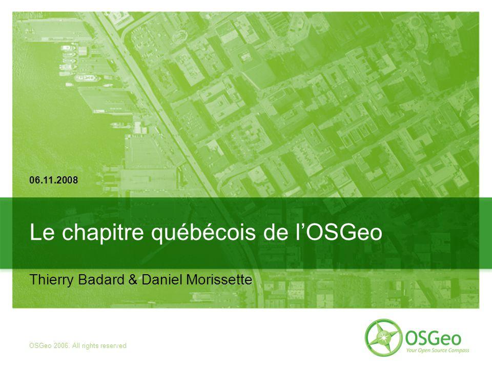Outils du Chapitre OSGeo-Qc Portail Québec : Wiki pour commencer : http://wiki.osgeo.org/wiki/Chapitre_quebecois Liste de diffusion : 86 inscrits actuellement Rappel : OSGeo-qc, c est vous .