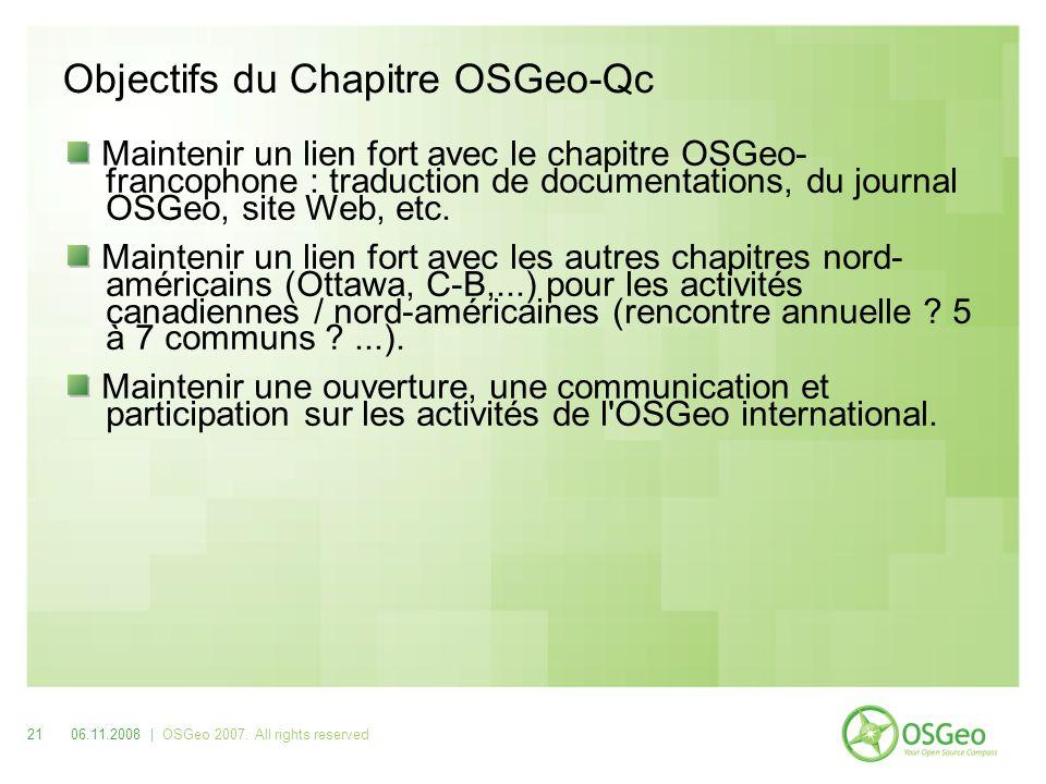 Objectifs du Chapitre OSGeo-Qc Maintenir un lien fort avec le chapitre OSGeo- francophone : traduction de documentations, du journal OSGeo, site Web, etc.
