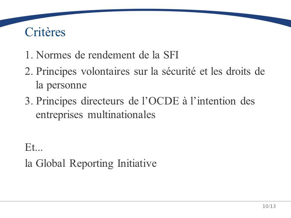 10/13 Critères 1. Normes de rendement de la SFI 2. Principes volontaires sur la sécurité et les droits de la personne 3. Principes directeurs de lOCDE