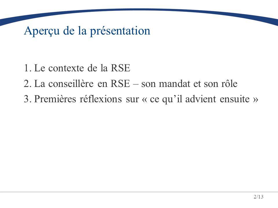 2/13 Aperçu de la présentation 1.Le contexte de la RSE 2.La conseillère en RSE – son mandat et son rôle 3.Premières réflexions sur « ce quil advient e