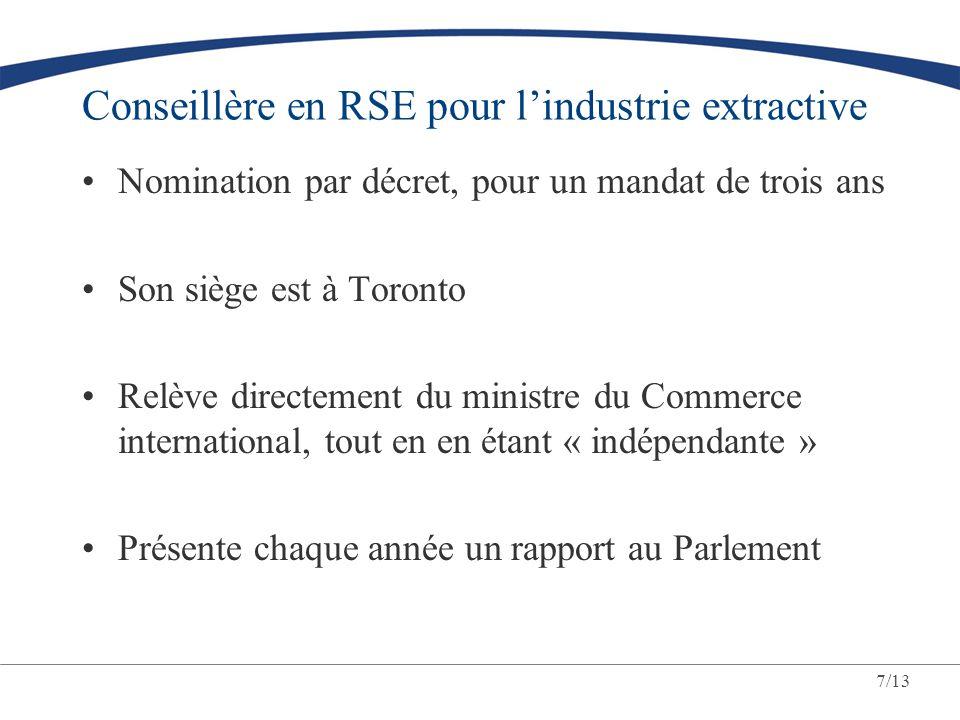 7/13 Conseillère en RSE pour lindustrie extractive Nomination par décret, pour un mandat de trois ans Son siège est à Toronto Relève directement du mi