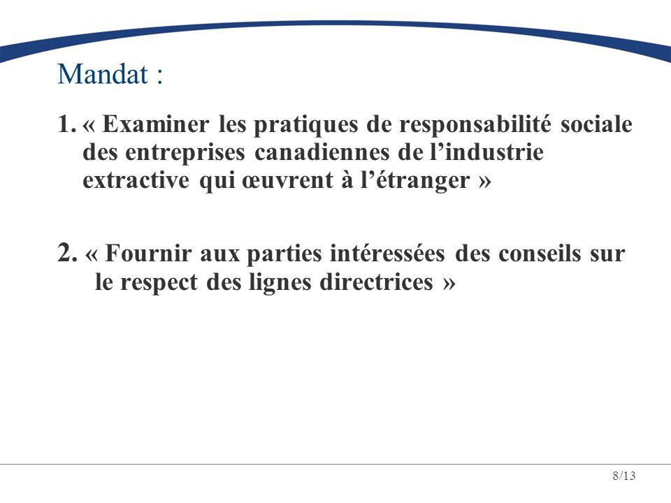 8/13 Mandat : 1.« Examiner les pratiques de responsabilité sociale des entreprises canadiennes de lindustrie extractive qui œuvrent à létranger » 2. «