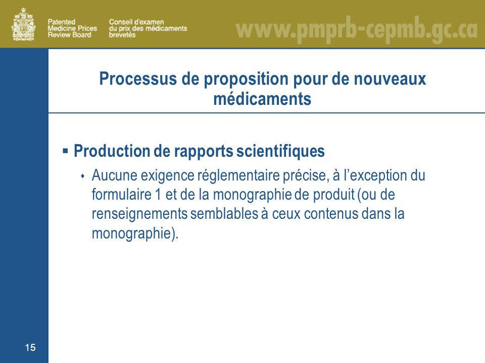 15 Processus de proposition pour de nouveaux médicaments Production de rapports scientifiques Aucune exigence réglementaire précise, à lexception du formulaire 1 et de la monographie de produit (ou de renseignements semblables à ceux contenus dans la monographie).