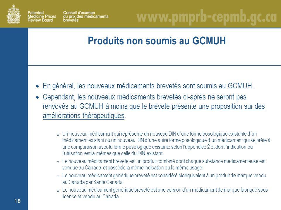 18 Produits non soumis au GCMUH En général, les nouveaux médicaments brevetés sont soumis au GCMUH.
