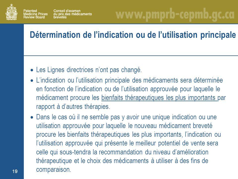 19 Détermination de lindication ou de lutilisation principale Les Lignes directrices nont pas changé.