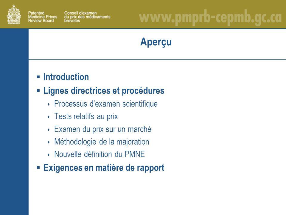 Aperçu Introduction Lignes directrices et procédures Processus dexamen scientifique Tests relatifs au prix Examen du prix sur un marché Méthodologie de la majoration Nouvelle définition du PMNE Exigences en matière de rapport