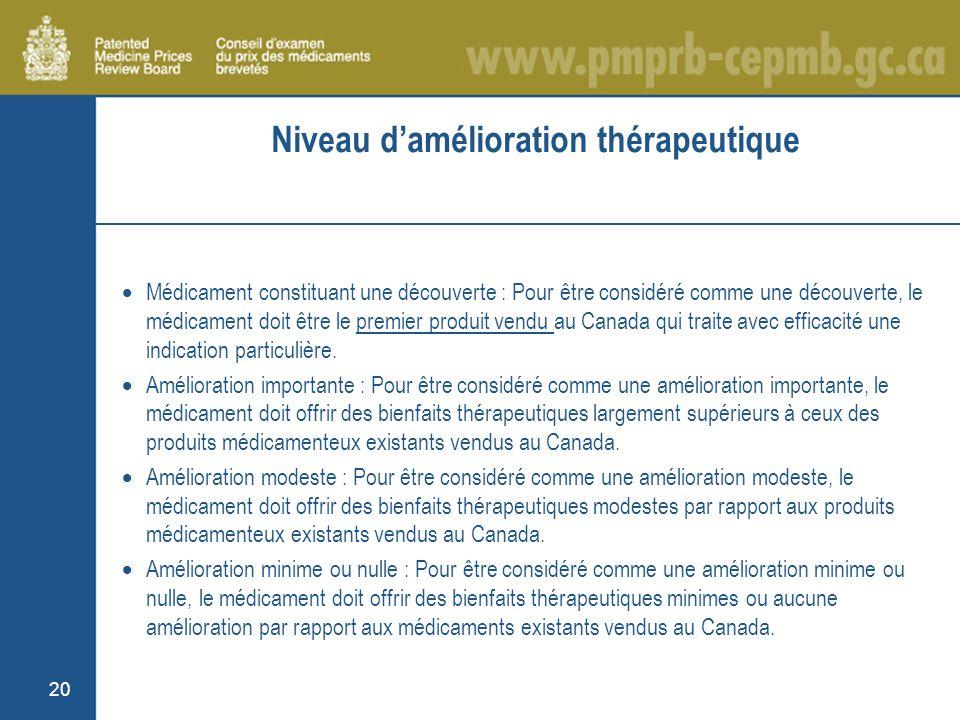 20 Niveau damélioration thérapeutique Médicament constituant une découverte : Pour être considéré comme une découverte, le médicament doit être le premier produit vendu au Canada qui traite avec efficacité une indication particulière.