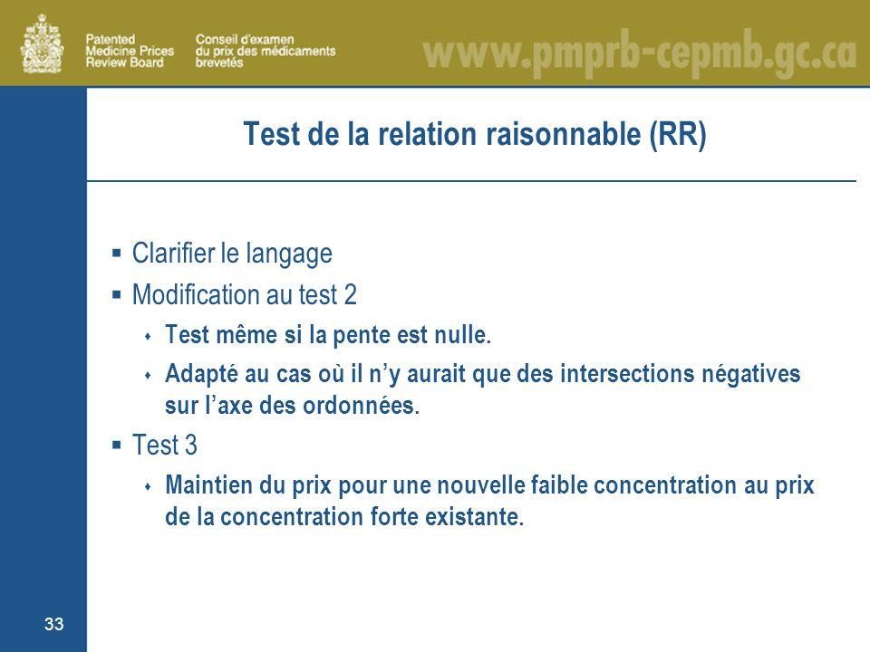 33 Test de la relation raisonnable (RR) Clarifier le langage Modification au test 2 Test même si la pente est nulle.