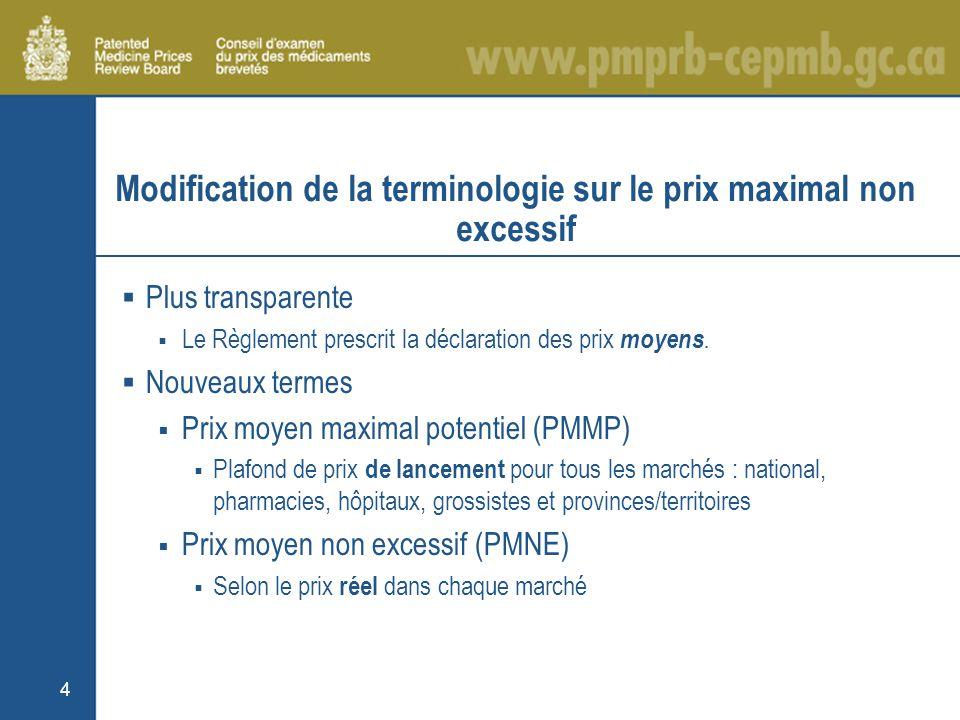4 Modification de la terminologie sur le prix maximal non excessif Plus transparente Le Règlement prescrit la déclaration des prix moyens.