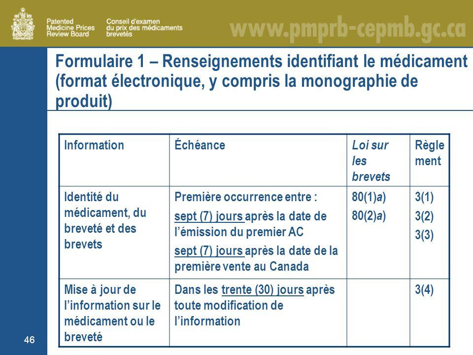 46 Formulaire 1 – Renseignements identifiant le médicament (format électronique, y compris la monographie de produit) InformationÉchéance Loi sur les brevets Règle ment Identité du médicament, du breveté et des brevets Première occurrence entre : sept (7) jours après la date de lémission du premier AC sept (7) jours après la date de la première vente au Canada 80(1) a ) 80(2) a ) 3(1) 3(2) 3(3) Mise à jour de linformation sur le médicament ou le breveté Dans les trente (30) jours après toute modification de linformation 3(4)