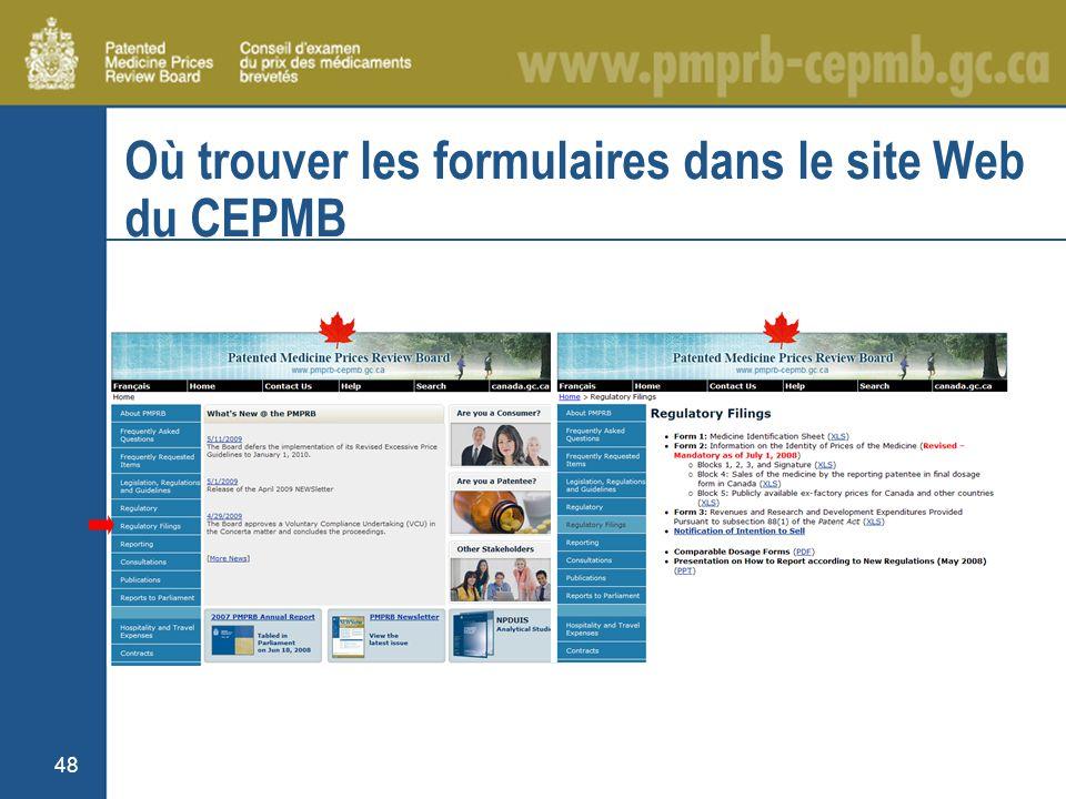 48 Où trouver les formulaires dans le site Web du CEPMB