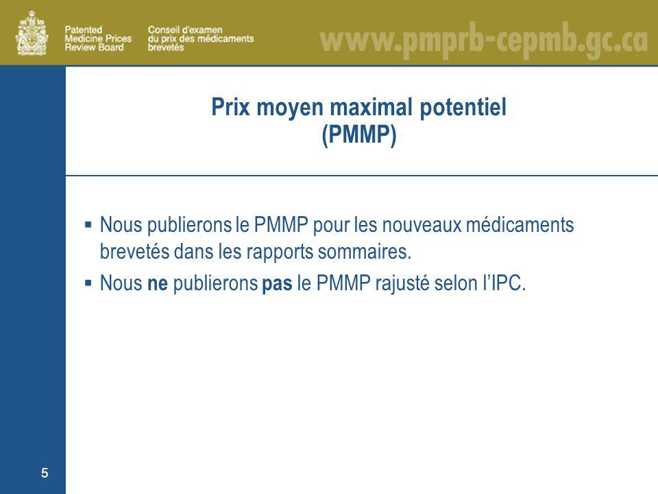 5 Prix moyen maximal potentiel (PMMP) Nous publierons le PMMP pour les nouveaux médicaments brevetés dans les rapports sommaires.