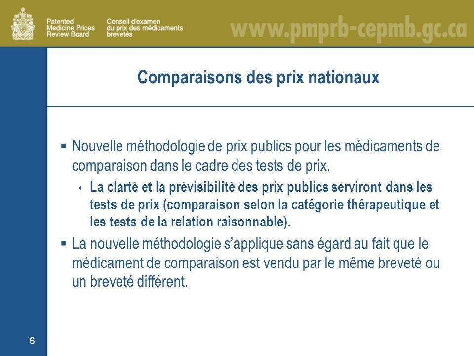 6 Comparaisons des prix nationaux Nouvelle méthodologie de prix publics pour les médicaments de comparaison dans le cadre des tests de prix.