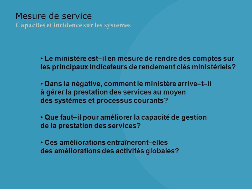 Mesure de service Capacités et incidence sur les systèmes Le ministère est–il en mesure de rendre des comptes sur les principaux indicateurs de rendement clés ministériels.