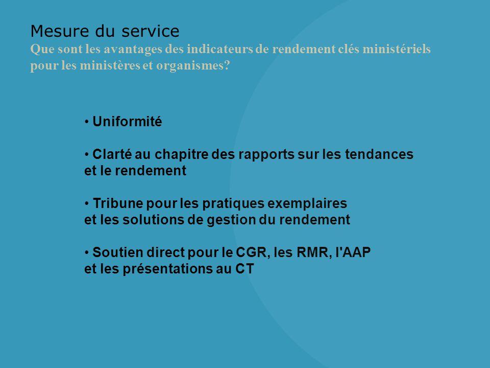 Mesure du service Que sont les avantages des indicateurs de rendement clés ministériels pour les ministères et organismes.