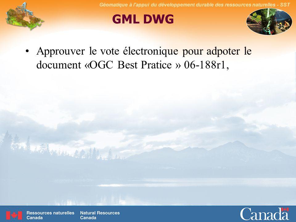 Géomatique à lappui du développement durable des ressources naturelles - SST GML DWG Approuver le vote électronique pour adpoter le document «OGC Best Pratice » 06-188r1,