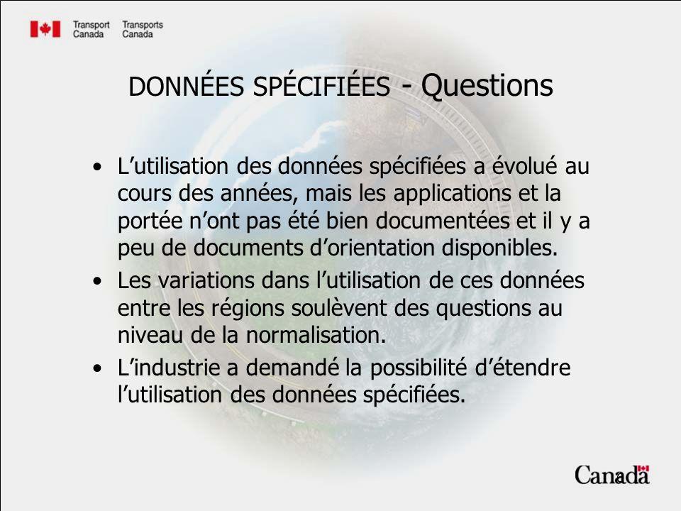 7 Position de TCAC sur les données spécifiées Lutilisation des données spécifiées doit se rapprocher de lintention dorigine.
