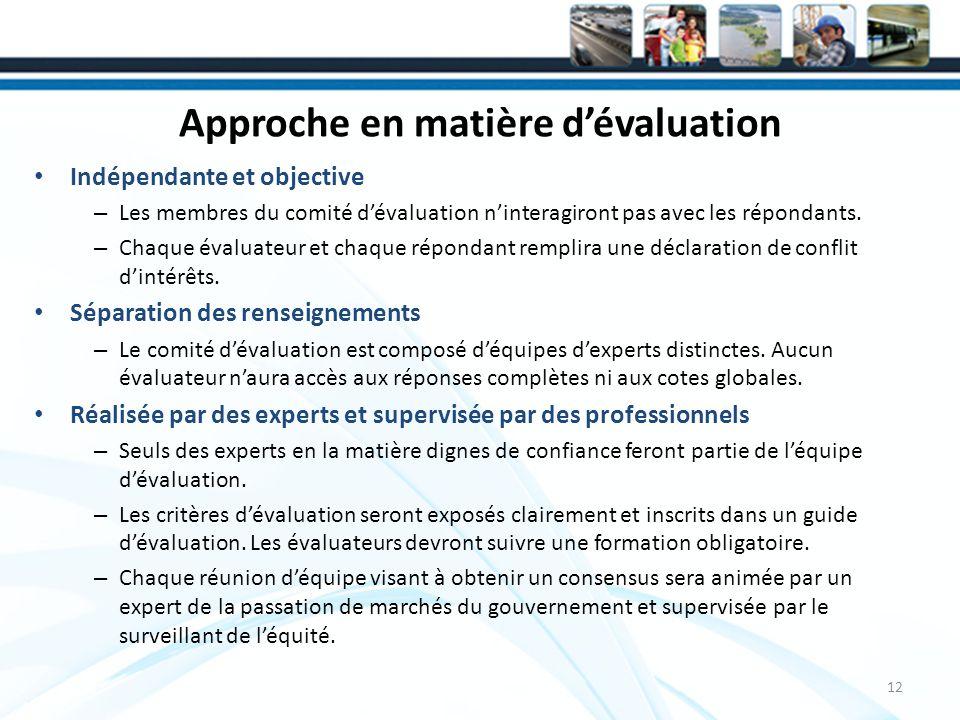 Approche en matière dévaluation Indépendante et objective – Les membres du comité dévaluation ninteragiront pas avec les répondants.