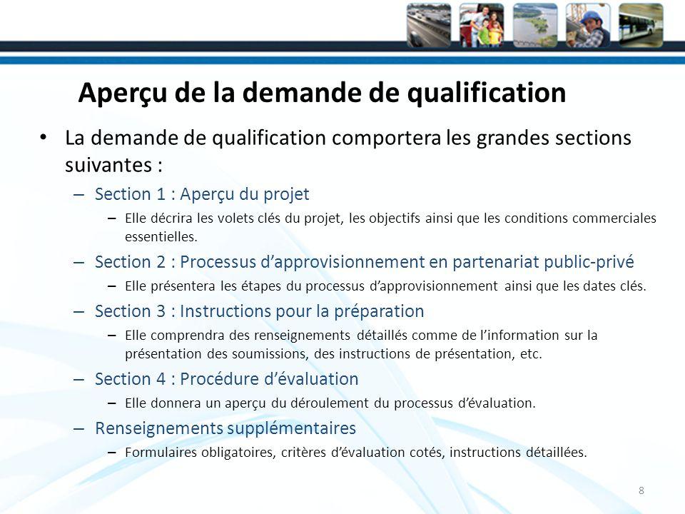Aperçu de la demande de qualification La demande de qualification comportera les grandes sections suivantes : – Section 1 : Aperçu du projet – Elle décrira les volets clés du projet, les objectifs ainsi que les conditions commerciales essentielles.