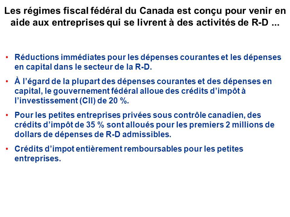 Les régimes fiscal fédéral du Canada est conçu pour venir en aide aux entreprises qui se livrent à des activités de R-D...