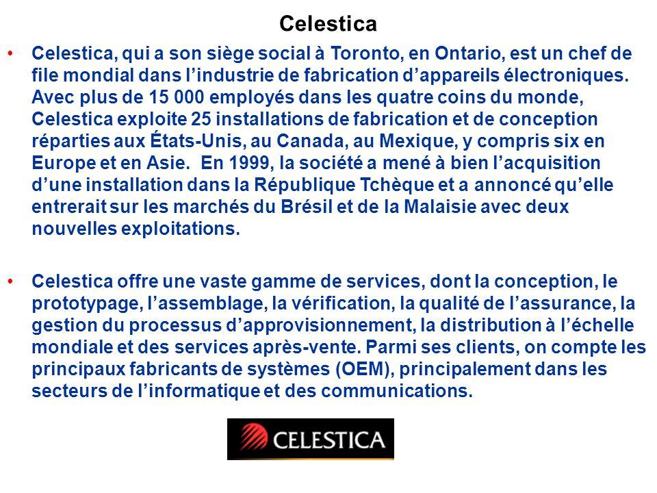 Celestica Celestica, qui a son siège social à Toronto, en Ontario, est un chef de file mondial dans lindustrie de fabrication dappareils électroniques.