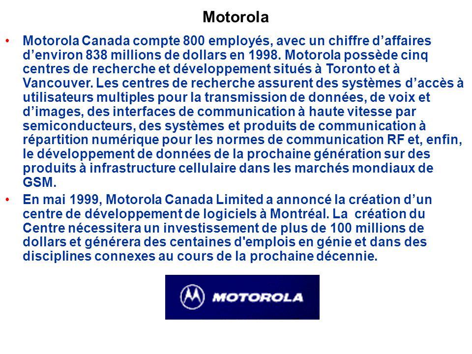 Motorola Motorola Canada compte 800 employés, avec un chiffre daffaires denviron 838 millions de dollars en 1998.