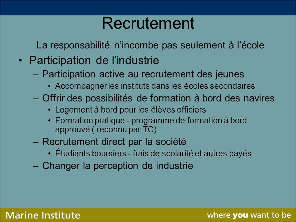 Recrutement La responsabilité nincombe pas seulement à lécole Participation de lindustrie –Participation active au recrutement des jeunes Accompagner