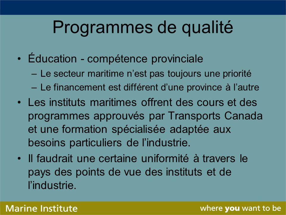 Programmes de qualité Éducation - compétence provinciale –Le secteur maritime nest pas toujours une priorité –Le financement est différent dune provin