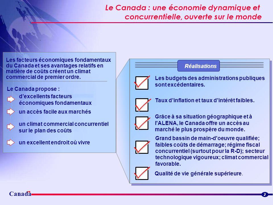 Canada Le Canada : une économie dynamique et concurrentielle, ouverte sur le monde Canada mapCanada map Les facteurs économiques fondamentaux du Canad