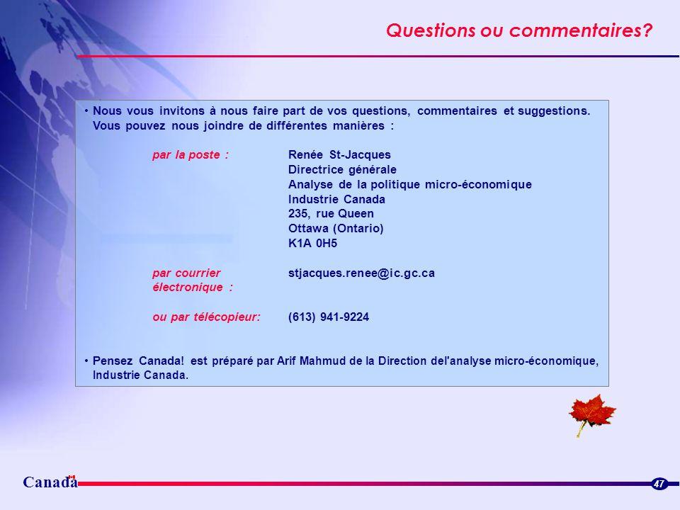 Questions ou commentaires? Canada 47 Nous vous invitons à nous faire part de vos questions, commentaires et suggestions. Vous pouvez nous joindre de d