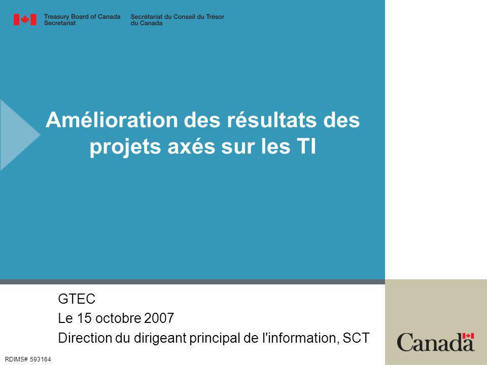 Amélioration des résultats des projets axés sur les TI GTEC Le 15 octobre 2007 Direction du dirigeant principal de l information, SCT RDIMS# 593164