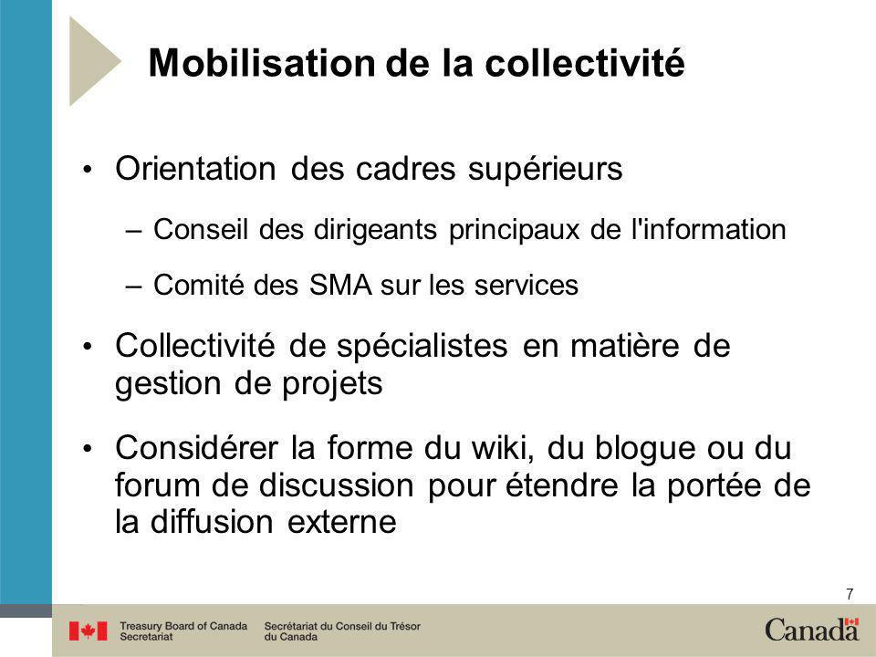 7 Mobilisation de la collectivité Orientation des cadres supérieurs –Conseil des dirigeants principaux de l'information –Comité des SMA sur les servic