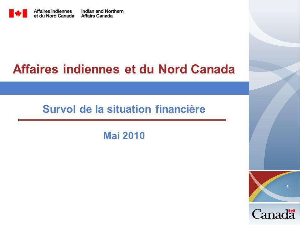 1 1 Affaires indiennes et du Nord Canada Survol de la situation financière Mai 2010