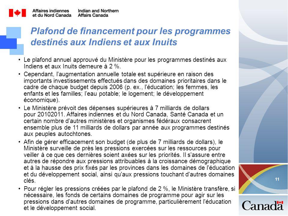 11 Plafond de financement pour les programmes destinés aux Indiens et aux Inuits Le plafond annuel approuvé du Ministère pour les programmes destinés aux Indiens et aux Inuits demeure à 2 %.