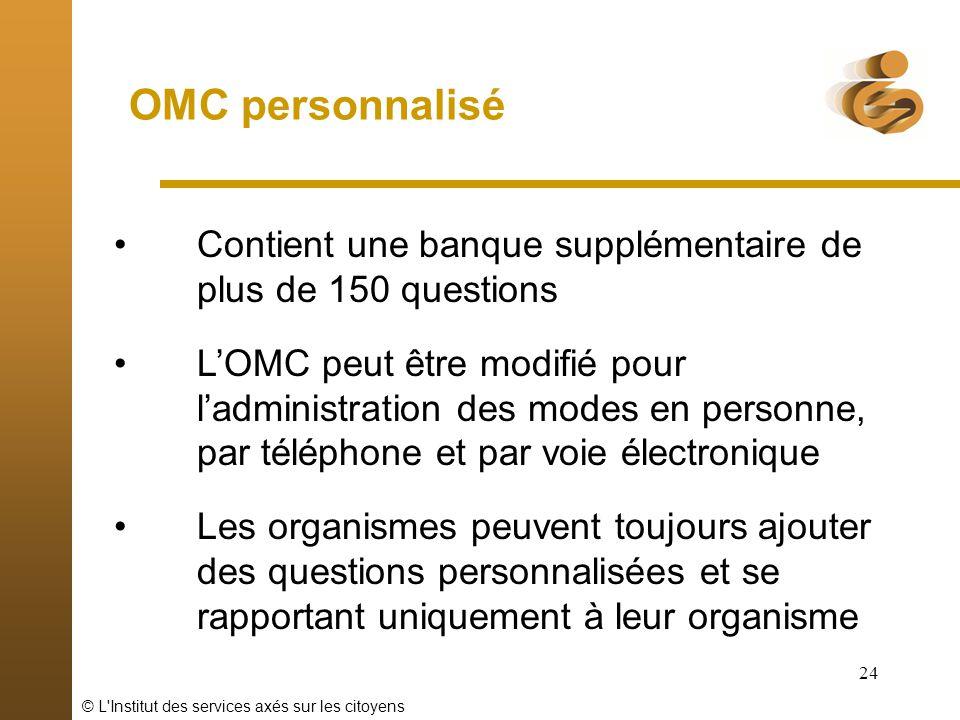 © L'Institut des services axés sur les citoyens 24 OMC personnalisé Contient une banque supplémentaire de plus de 150 questions LOMC peut être modifié