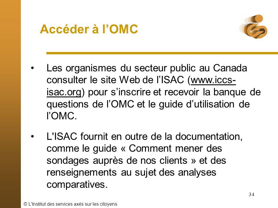 © L'Institut des services axés sur les citoyens 34 Accéder à lOMC Les organismes du secteur public au Canada consulter le site Web de lISAC (www.iccs-