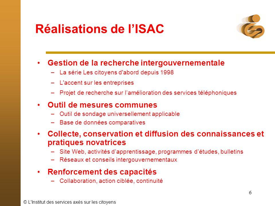 © L Institut des services axés sur les citoyens 7 Recherche de lISAC Les citoyens dabord Laccent sur les entreprises