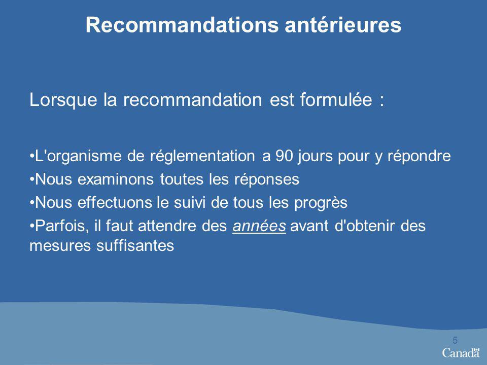 Recommandations antérieures 5 Lorsque la recommandation est formulée : L'organisme de réglementation a 90 jours pour y répondre Nous examinons toutes