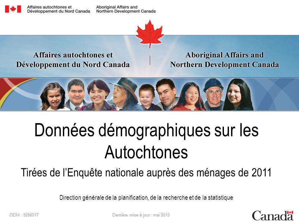 Données démographiques sur les Autochtones Tirées de lEnquête nationale auprès des ménages de 2011 Direction générale de la planification, de la recherche et de la statistique CIDM : 5296017 Dernière mise à jour : mai 2013