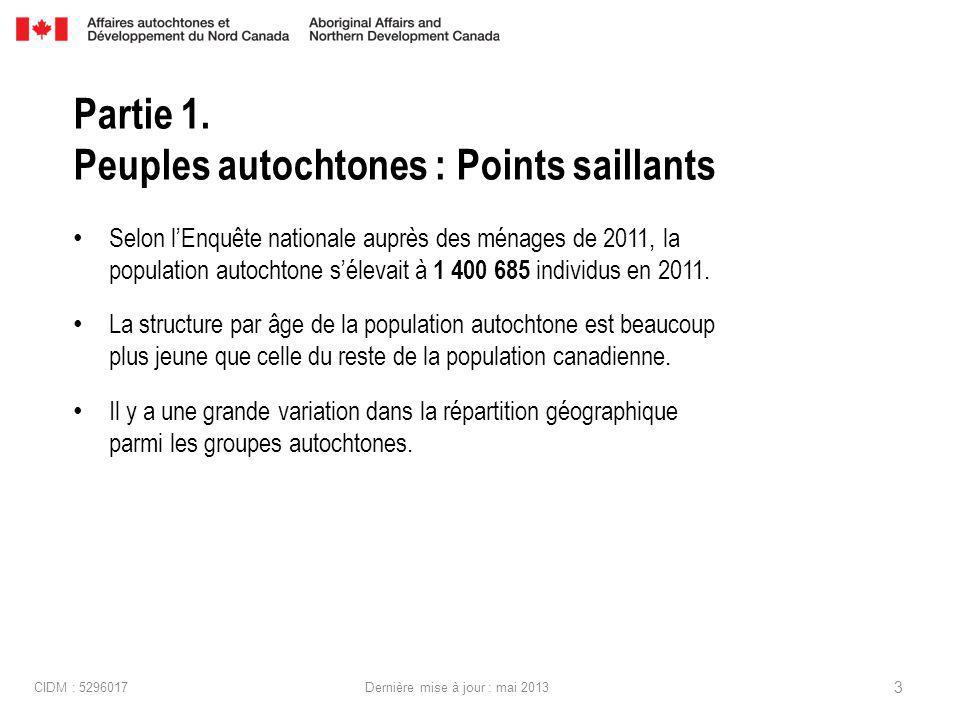 Selon lEnquête nationale auprès des ménages de 2011, la population autochtone sélevait à 1 400 685 individus en 2011.