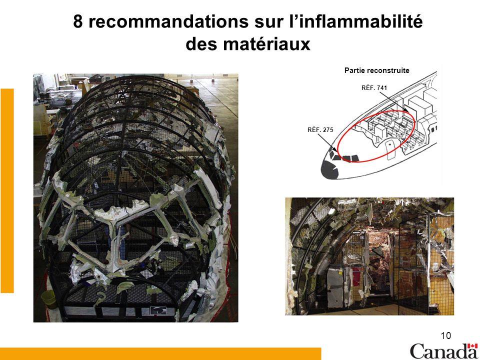 10 8 recommandations sur linflammabilité des matériaux Partie reconstruite RÉF. 741 RÉF. 275