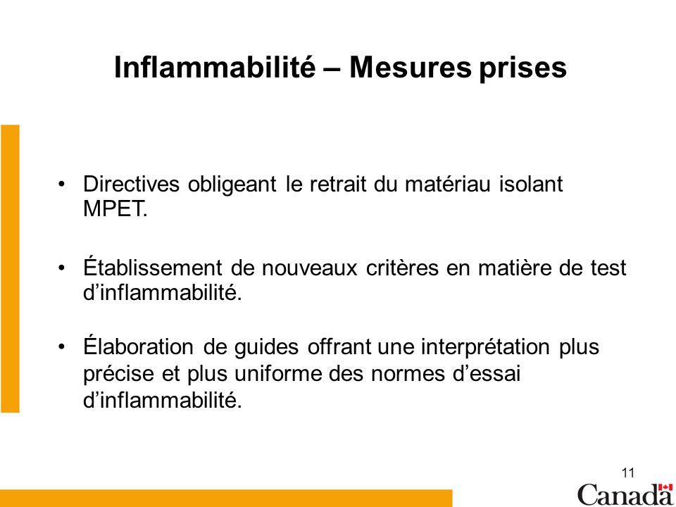 11 Inflammabilité – Mesures prises Directives obligeant le retrait du matériau isolant MPET. Établissement de nouveaux critères en matière de test din