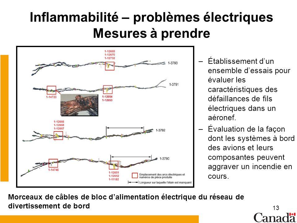 13 Inflammabilité – problèmes électriques Mesures à prendre –Établissement dun ensemble dessais pour évaluer les caractéristiques des défaillances de