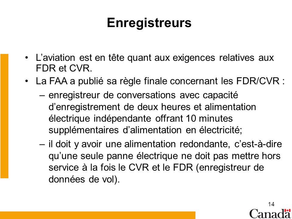 14 Enregistreurs Laviation est en tête quant aux exigences relatives aux FDR et CVR. La FAA a publié sa règle finale concernant les FDR/CVR : –enregis