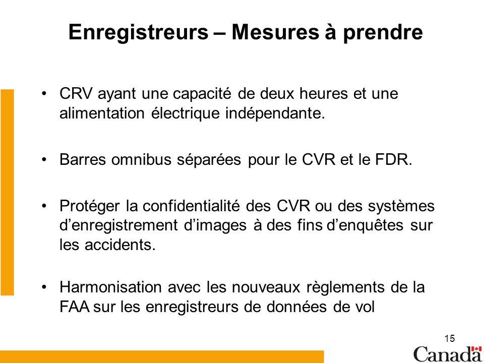 15 Enregistreurs – Mesures à prendre CRV ayant une capacité de deux heures et une alimentation électrique indépendante. Barres omnibus séparées pour l